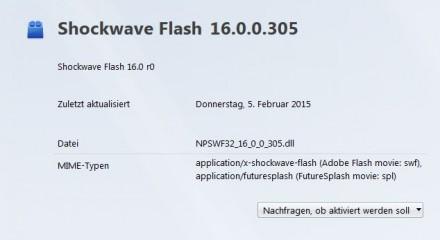 Da sich die Verwendung von Flash Player nicht völlig vermeiden lässt, sollte das Internet-Plug-in so eingestellt werden, dass vor seiner Aktivierung eine Zustimmung erforderlich ist (Screenshot: ZDNet.de)