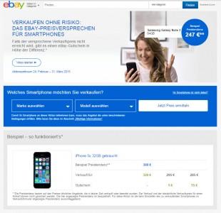 Ebay garantiert mit einem Preisversprechen Verkäufern Mindesterlös für ausgewählte Smartphones (Screenshot: ITespresso).