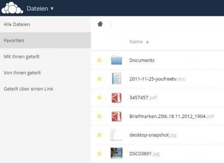 Häufig genutzte Dateien und Ordner lassen sich in owncloud 8 als Favoriten markieren, um sie schneller wiederzufinden (Screenshot: Christian Lanzerath).