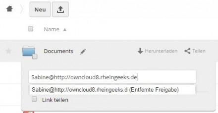 Nutzer können Dateien in ownbcloud 8 auch aktiv für User anderer ownCloud-Server freigeben (Screenshot: Christian Lanzerath).