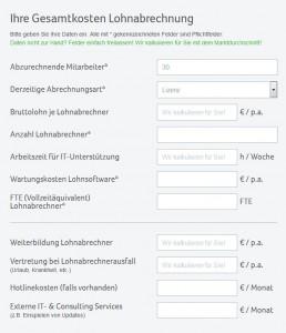 Online-Tool von Sage Software zur Ermittlung der Kosten für dei Lohnabrechnung (Screenshot: ITespresso).