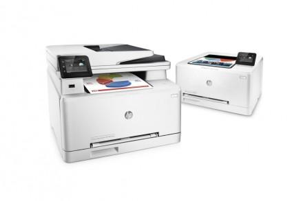 HP Color LaserJet Pro M252 und  HP Color LaserJet Pro MFP M277: Die für kleine Arbeitsgruppen konzipierten Neuvorstellungen mit JetIntelligence-Technologie (Bild: Hewlett-Packard).