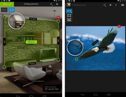 """Die Screenshots zeigen das Feature """"Depth Map"""" im Aktion. In Fotos, die mit dem 3D-Kameramodul geknipst wurden, kann der Nutzer die Entfernung zwischen Punkten oder auch Flächen berechnen lassen. (Screenshots: Dell)"""