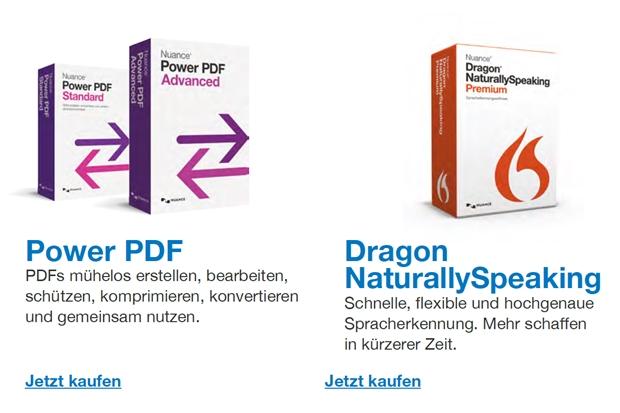 Mehr Produktivität am Arbeitsplatz verspricht Nuance mit seinen Produkten Dragon Naturally Speaking und PowerPDF (Grafik: Nuance).