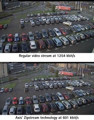Mit Zipstream will Axis Bandbreiten- und Speicherbedarf bei Netzwerkkameras ohen Qualitäsverlust halbieren (Grafik: Axis Communications).