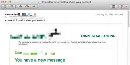 Eine etwas aufwändiger als gewöhnlich gestaltete Spam-E-Mail mit dem Muster einer Privatkundenbank als Köder (Bild: Proofpoint).