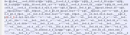 Beispiel eines JJencoded-JavaScript (Bild: Proofpoint)