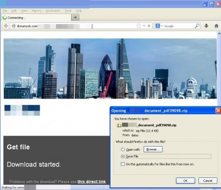 Der Malware-Download beginnt bei Dyrenach Ablauf des 5-sekündigen Countdown-Zählers (Bild: Proofpoint).
