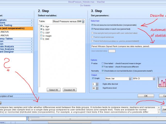 Maxstat verspricht auch komplexe Analsyen in drei Schritten handhabbar zu machen (Bild: Maxstat).