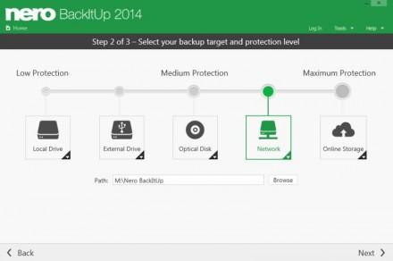 Bei Nero Backitup lässt sich das gewünschte Speicherziel auswählen - lokal oder in der Cloud (Screenshot: Nero)