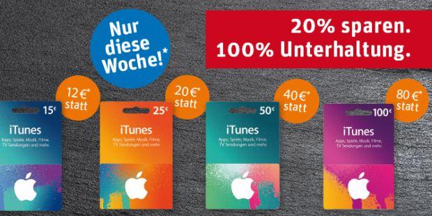 Guthabenkarten für iTunes sind diese Woche bei Rewe 20 Prozent günstiger (Screenshot: ITespresso).