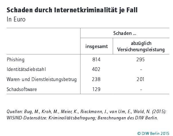 Sacheden durch Internetdelikte pro Fall (Grafik: DIW)