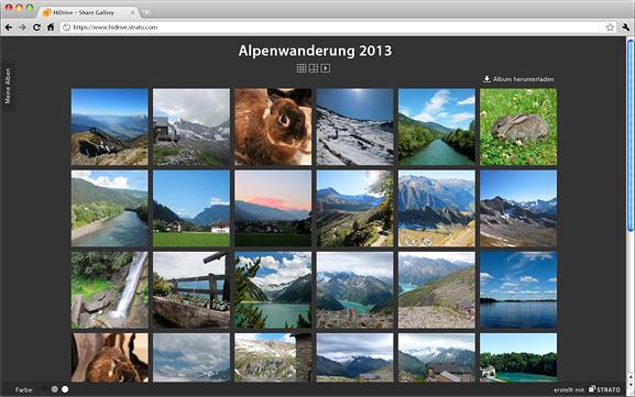 Die ShareGallery ist eine Möglichkeit, im Online-Speicher HiDrive anderen einfach und attraktiv Fotos zugänglich zu machen (Screenshot: Strato).
