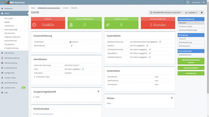 Auch der Zugang zu Managed Workplace erfolgt Cloud-basiert über das Dashboard  (Screenshot: AVG).