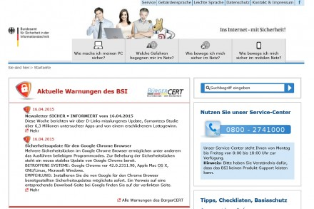 """""""BSI für Bürger"""" kümmert sich auch um die IT-Sicherheit der Privatanwender. Neben Tipps und Know-how-Artikeln bringt die Website aktuelle Warnhinweise. Zudem kann man einen wöchentlich einen Newsletter bestellen. (Screenshot: Mehmet Toprak)"""