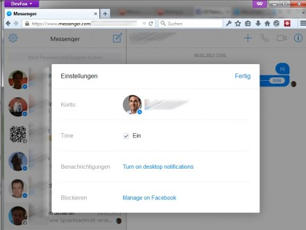 Facebook-Messenger: Desktop-Variante (Screenshot: ITespresso.de)
