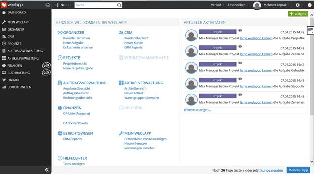 Trotz vieler Funktionen wirkt Weclapp nicht überladen oder unübersichtlich. Der Screenshot zeigt die Startseite der Software mit dem Dashboard (Screenshot: Mehmet Toprak))