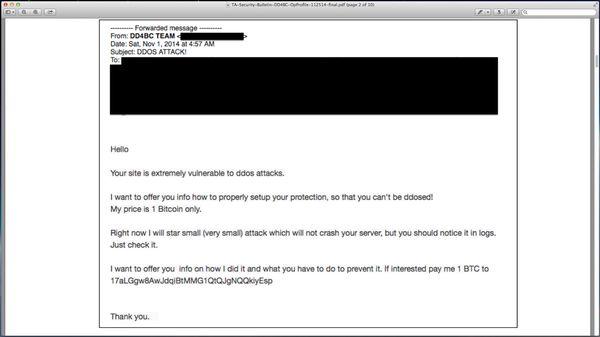 Erpressung per Mail – die Angreifer drohen dem Opfer mit seinem virtuellen Ende (Bild: Akamai)