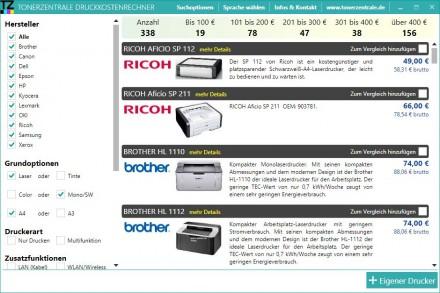 Auswahl der gewünschten Funktionsmerkmale für das Druckgerät beim Druckkostenrechner 2.0 (Screenshot: Tonerzentrale.de)
