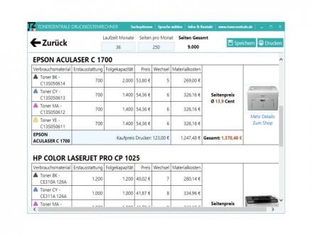 Druckkostenrechner 2.0 zeigt auch, wie sich die zu erwartenden Gesamtkosten zusammensetzen (Bild: Tonerzentrale.de)