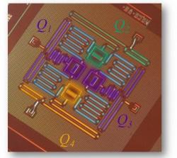Für die Quantenfehlerkorrektur haben IBM-Wissenschaftler vier supraleitende Quantenbits auf einem rund ein Quadratzentimeter großen Chip in einem quadratischen Gitter verbunden (Bild: IBM).