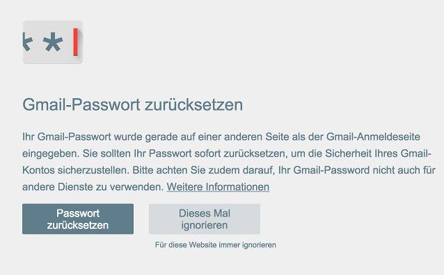 Passwort-Warnung (Screenshot: ITespresso)