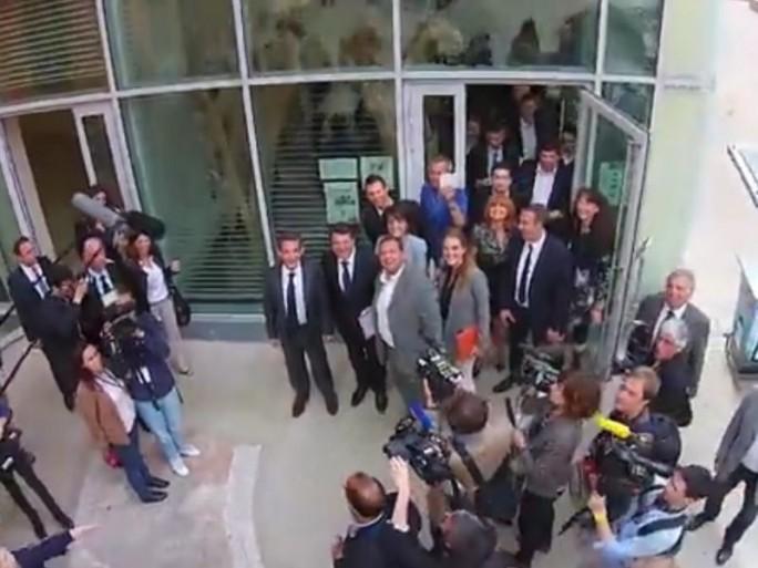 Sarkozy #Dronie (Screenshot: ITespresso bei Youtube)