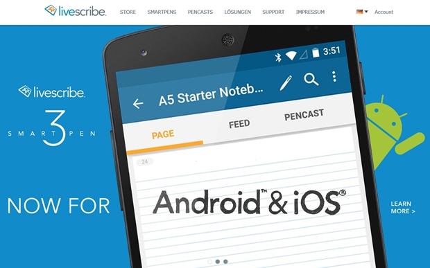 Jetzt auch für Android erhältlich: Die Livescribe-App, mit der man den Stift mit dem Tablet nutzen kann. Bisher gab es die App nur für Apples iOS. (Screenshot: Mehmet Toprak).