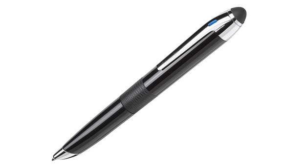 Das blaue LED-Licht zeigt an, dass der Smartpen 3 eine Bluetooth-Verbindung zum Tablet aufgebaut hat. (Foto: Livescribe).
