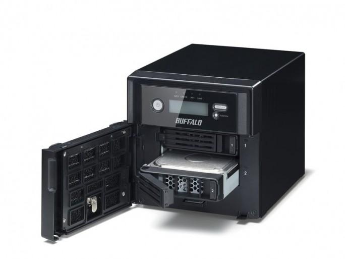 Buffalo NAS TS5200Die kleinste Variante von Buffalos mit WD-Platten ergänzten NAS-Systemen bietet zwei Einschubschächte (Bild: Buffalo Technology).