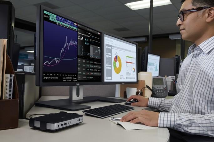 Über die kompakten Thin Clients von Wyse arbeiten Anwender mit virtuellen Workstations. Der Rechner, ein Precision Rack 7910 ist im Rechenzentrum untergebracht und kann mehrere Nutzer gleichzeitig bedienen (Bild: Dell).