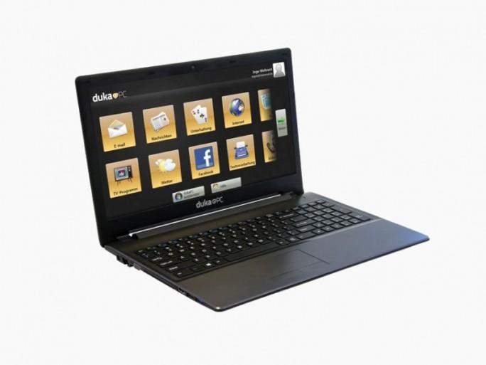 Der Duka-Laptop zeigt aufseiner eigenen Oberfläche große Icons für die wichtigsten Aufgaben (Bild: Duka-PC)