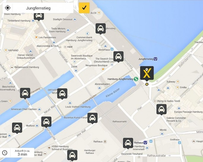 Mytaxi-App auf einem Android-Gerät (Screenshot: Mytaxi)