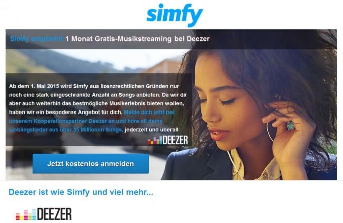 Simfy empfiehlt Deezer (Screenshot: ITespresso)