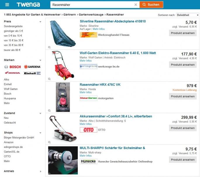 Website von Twenga (Screenshot: ITespresso)