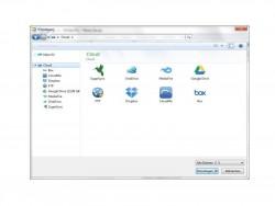 Winzip kann sich aus verschiedenen Cloud-Quellen Daten für ein gemeinsames Zip-Archiv suchen und die externen Dienste zum Teilen von Daten nutzen (Bild: Winzip).