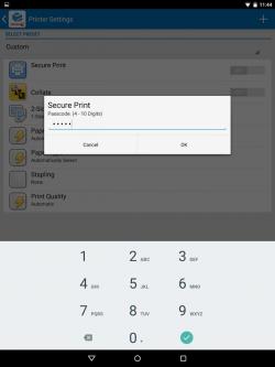 Mit den Xerox-Apps lässt sich etwa via PIN-Eingabe die Verschlüsselung der Druckdaten erzwingen (Bild: Xerox).