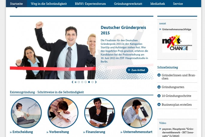 Amtshilfe: Die Website des Bundeswirtschaftsministeriums sagt Existenzgründern, wo es lang geht /Screenshot: Mehmet Toprak).