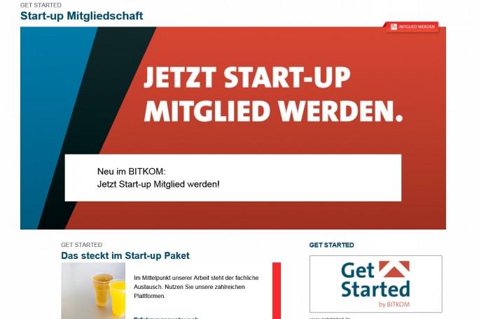 Mitgliederwerbung: Wer bei Bitkoms Start-up-Programm Mitglied wird, bekommt Infos, Know-how und Möglichkeiten zur Vernetzung mit anderen Unternehmen (Screenshot: Mehmet Toprak).
