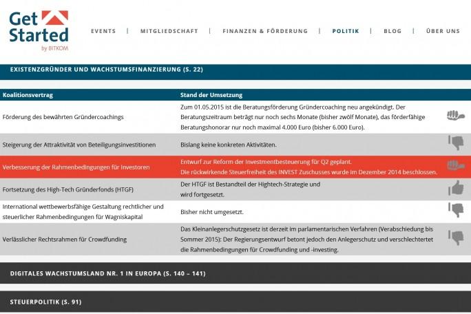 """Gute Absichten: Die Bitkom-Seite """"Get started"""" führt auch die Pläne der Bundesregierung im Bereich der Hightech-Förderung auf (Screenshot: Mehmet Toprak)."""