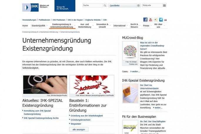 Gute Adresse: Die Website der IHK - hier die Version für München und Oberbayern - bietet jede Menge Infomaterial für Start-ups (Screenshot: Mehmet Toprak).