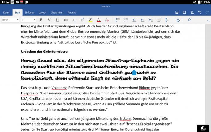 Erwartungsgemäß keine Probleme hat die Word-App von Microsoft bei der Darstellung von Word Dateien, die mit Office 2010 erstellt wurden. Auch exotische Schriften werden auf dem Tablet richtig dargestellt (Screenshot: Mehmet Toprak).