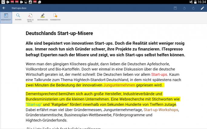 Die App von Mobisystems stellt Word-Dokumente weitgehend fehlerfrei dar (Screenshot: Mehmet Toprak).