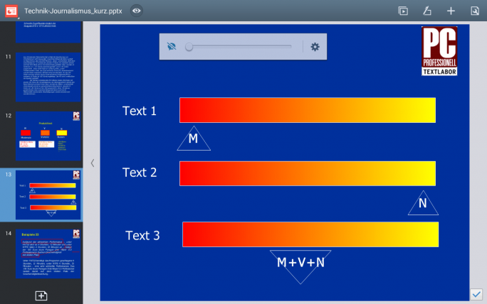 Die Präsentations-App von Mobisystems gibt auch die Animationen in Powerpoint Folien wieder (Screenshot: Mehmet Toprak).