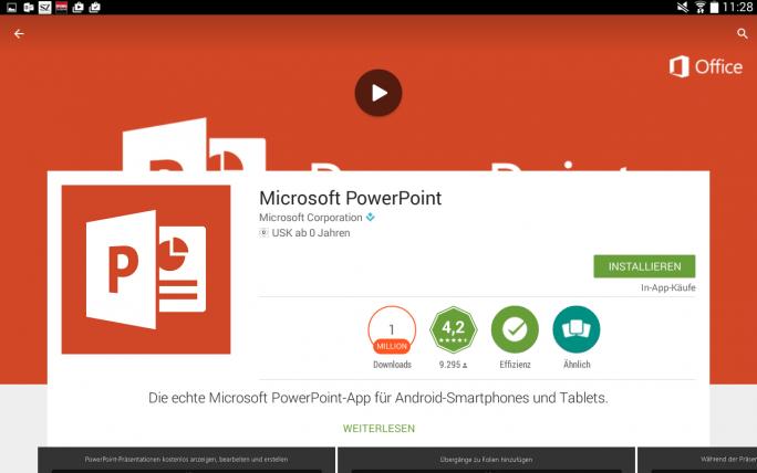 Die Powerpoint-App von Microsoft kann man seit neuestem auch bei Google Play herunterladen (Screenshot: Mehmet Toprak).