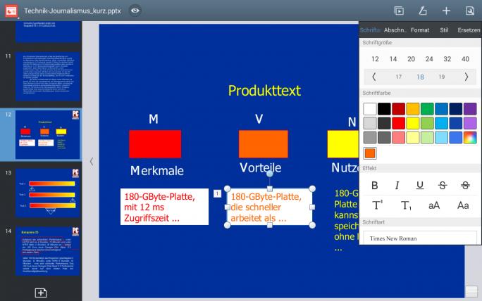 Polaris Office - hier die Präsentations-App - ist auf vielen Samsung-Tablets bereits vorinstalliert (Screenshot: Mehmet Toprak).