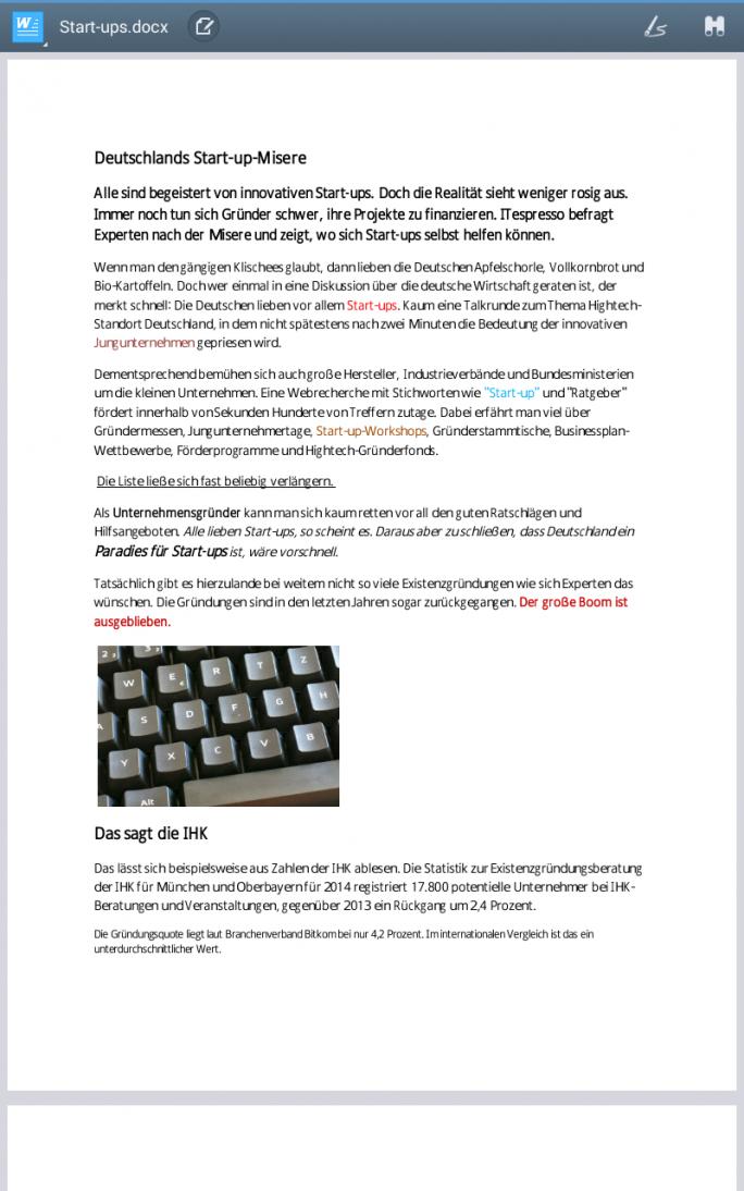 Die Textverarbeitung-App Polaris Office bietet alle Grundfunktionen, die man von einer mobilen Textverarbeitung erwartet und öffnet auch Word-Dateien problemlos (Screenshot: Mehmet Toprak).