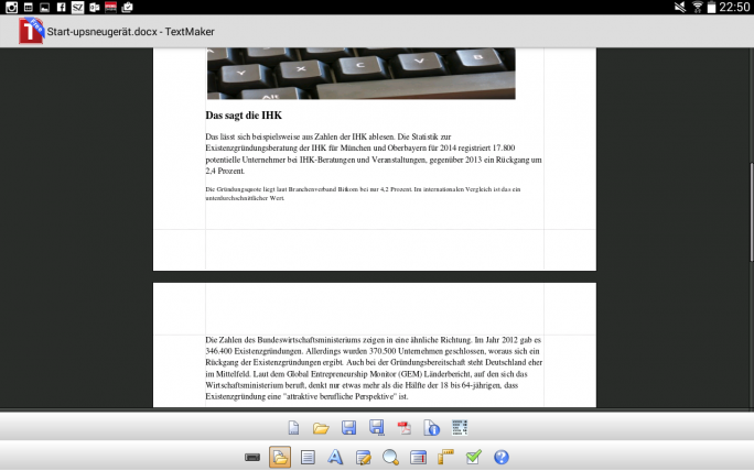 Der Screenshot zeigt die Textverarbeitung App von Softmaker. Word-Dateien werden fast fehlerfrei dargestellt. (Screenshot: Mehmet Toprak).