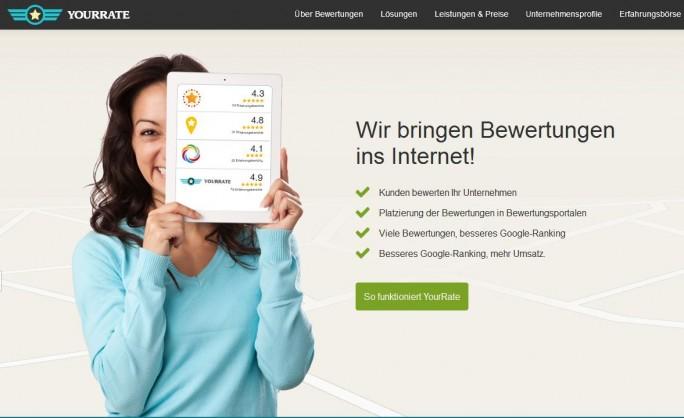 YourRate bewirbt seine Dienste als SEO-Maßnahme, das Landgericht Düsseldorf stufte nach einer Klage von Yelp einen teil davon nun als Schleichwerbung ein (Screenshot: ITespresso).