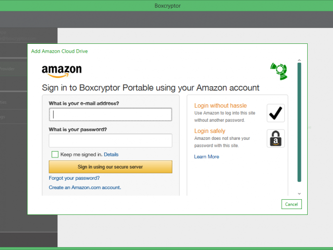 Boxcryptor Portabel bei Amazon Cloud Drive (Screenshot: Secomba)